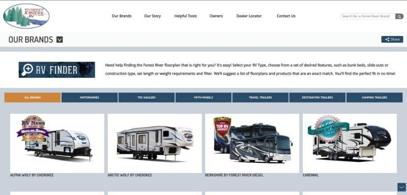 Our Brands Forest River RV Manufacturer of Travel Trailers Fifth Wheels Tent Campers Motorhomes 2019 06 27 13.17.02